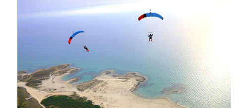 Parachutists get a birds-eye view of the country's coastline.